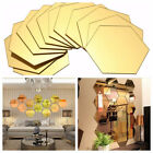 1/12pcs Hexagon Mirror 3d Wall Stickers Diy Home Decor Decorations Removable
