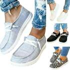 Women's Canvas Loafers Slip On Flat Shoes Ladies Casual Comfy Trainers Sneakers