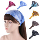 Womens Yoga Sports Wide Headband Stretch Tie Dye Hairband Turban Headwrap Hot