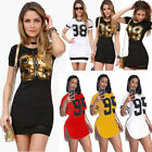 Plus Size Womens Summer Mini T-shirt Dress Printed Casual Sport Bodycon Sundress