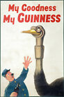 My Goodness My Guinness Ostrich Vintage Beer Advertising Poster