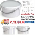 2.5L White Bucket Container With Lid & Handle Jokey Jet 22 PM Storage Tubs Bin