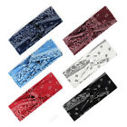 Women Printed Cross Knot Wide Sports Yoga Headband Casual Elastic Boho Head Wrap