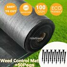 Heavy Duty Weed Membrane Weed Control Fabric Ground Cover Sheet 100GSM With Pegs