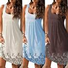 Women Boho Floral Summer Beach Strappy Tank Mini Dress Loose Casual Sundress