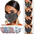Reusable Crystal Glitter Rhinestone Sparkle Bling Lightweight Face Mask Cover