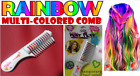 RAINBOW Multi-Color Hair Color Comb With Glitter - Temporary Hair Dye Chalk