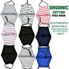 Organic Cotton Face Mask Double Layered Washable Breathable Reusable Face Cover