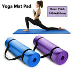 10mm Thick Yoga Mat Pad Nonslip Exercise Fitness Pilate Gym Durable180 61cm