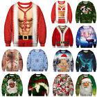 Mens Women Christmas 3D Print Sweatshirt Sweater Ugly Pullover Jumper Blouse Top