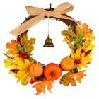 Maple Leaves Pumpkin Wreath Thanksgiving Harvest Halloween Door Garland Decor US