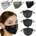 Women's Crystal Glitter Rhinestone Sparkle Bling Reusable Face Mask Covering
