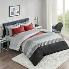 Comfort Spaces Colin 9 Piece Comforter Set All Season Microfiber Stripe Printed