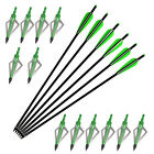 2219 Crossbow Bolts Aluminum Arrows 16-22 in +12 Broadheads 100gr Target Hunting