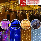 13'FT Curtain Icicle Lights Wedding Party LED Fairy Christmas Indoor Outdoor US