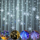 LED Snowflake Fairy String Lights Curtain Window Christmas Party Wedding Decor