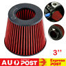 Universal 3'' 76mm Inlet Short Ram Red Cold Air Intake Cone Filter with Clamp