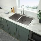 33 Kitchen Sink Drop In - Logmey 33x22 Drop In Topmount Double Bowl 40/60 Stainl
