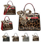 Ladies Leopard Satchel  Handbag Scarf Shoulder Bag Padlock Grab Bag MA36582-1