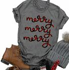 Beopjesk Women's Buffalo Plaid Tees Casual Short Sleeve Merry Letter Printed Gra