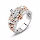 "Women 925 Silver Ring ""true Love Never Dies"" Heart Couple White Sapphire Jewelry"