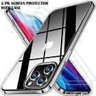 For iPhone 12/Pro/Max/Mini Case Clear Slim Cover With 2 Screen Protectors