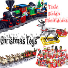 Christmas Santa Claus Minifigures Train Reindeer Sleigh Kids Toys Gifts Xmas Set