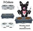 Dog Bowls Stainless Steel Water and Food Bowl Pet Cat Feeder Wooden Stand
