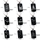 Tungsten Halloween Sign Design Engraving Dog Tag Pendant Necklace 24""