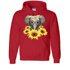 Elephant Sunflower YOUTH Hoodie Cute Nerdy Animals Love Be Kind Kids Pullover
