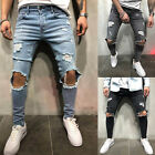 Mens Skinny Fit Ripped Jeans Super Stretch Distressed Denim Pants Biker CASUAL
