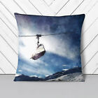 Ski Lift in the Alps Painting 1 x Soft Cushion and Cover Sofa Bed Throw Pillow
