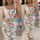 Women's Floral Sleeveless Tank Bodycon Dress Soft Cotton Casual Midi Pencil