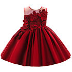 Flower Baby Girl Princess Dress Birthday Party Wedding Pageant 3D Flowers Gown