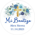 """BLUE GREEN WHITE """"MI BAUTIZO"""" PARTY ROUND STICKERS FAVORS LABELS PERSONALIZED"""