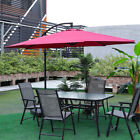 Large Table Chair Set Folding Seater Outdoor Garden Patio Furniture Parasol Hole