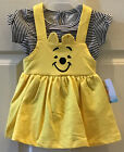 Disney Baby Girl 0-3, 3-6, or 12 Mo Winnie The Pooh 2 Piece Yellow Outfit Ears