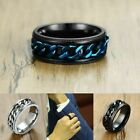 8mm Fidget Spinner Ring Blue Chain For Men Wedding Band Jewelry Stainless Steel