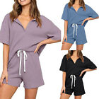 Summer Women's Pure Color Short-sleeved Casual Sports Home Wear Two-piece Suit