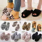 Women's Fluffy Fur Leopard Print Flat Sandals Slippers Casual Sliders Shoes Size