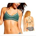 Xhilaration Juniors Crochet Swimsuit Bikini Green Olive Casual Adjustable Top