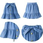 Kids Girls Fashion Denim Skirts Decorate Buttons Skirts Bow Belt Casual Clothes