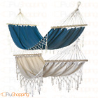 Hammock for the Garden IN Cotton - Fine With Fringed Holders Wooden CM 200X100