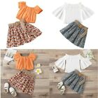Girls Kids Casual Outfits Short Sleeves Top Floral Pleated Skirt Stylish Clothes