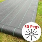 Weed Barrier Control Fabric Membrane Garden Ground Landscape Lawn Grass + Pegs