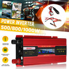 Car Solar Power Inverter 500/800/1000W DC12V To AC220V Car Cable LCD Display USB