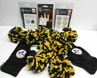 Pittsburgh Steeler Cheer Pom Pom Gloves Choice of Fingernail Face Decals Tattoos