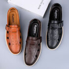 Mens Round toe Leather Hollow out Buckle Fisherman Breathable Outdoor Shoes Pump