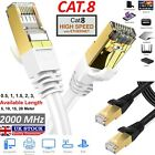 RJ45 Cat8 Ethernet Cable Ultra-thin Network Gold 40Gbps SSTP Patch LAN Lead...