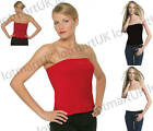 New Ladies Boob Tube Bandeau Strapless Tops Sz 8-16